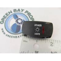 Apex Marine Pontoon Boat Speaker Lights Rocker Switch Cover Only Black w/Red Lens