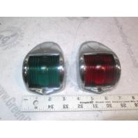 Perko Marine Boat Front Vertical Side Navigation Lights Green / Red Chrome Set
