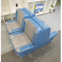 1964 StarCraft Holiday 18' Boat Folding Back to Back Seats Blue Grey Set (2)