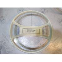 "Vintage Bee Craft Boat Marine Steering Wheel 13.75"" White Plastic 3/4"" Shaft"