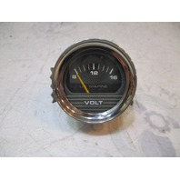 "1980's Bayliner US Marine Boat Volt Gauge 2"" Black Face Chrome Bezel"