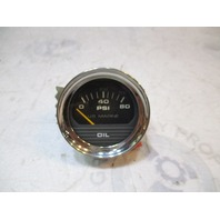 "1980's Bayliner US Marine Boat Oil Pressure Gauge 2"" Black Face Chrome Bezel"