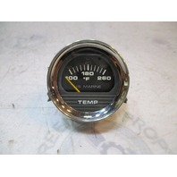 "1980's Bayliner US Marine Boat Temperature Gauge 2"" Black Face Chrome Bezel"