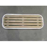 """Vintage Boat Floor Deck Ski Hatch Cover Teak Aluminum Frame 37 3/8"""" x 13 1/2"""""""