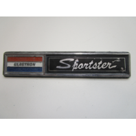 """1970's Glastron Sportster Boat Plaque Emblem Badge Stainless Steel 6"""" x 1 1/4"""""""