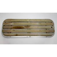 """Vintage Boat Teak Floor Deck Ski Hatch Cover Aluminum Frame 37 1/2"""" x 13 1/2"""""""