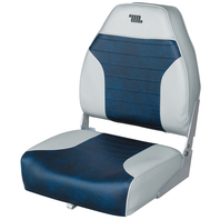 Wise Mid-Back Fold Down Fishing Boat Seat Grey/Navy