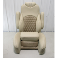 Godfrey Pontoon Boat Bolstered Reclining Captain Helm Chair Seat Tan & Brown