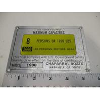 1990 Chaparral 1900 SL Maximum Capacity Plate