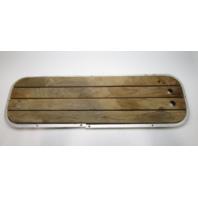 """Vintage Boat Floor Deck Ski Hatch Cover Teak Aluminum Frame 43 1/2"""" x 13 1/2"""""""