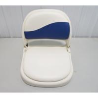 Attwood Marine PROForm White/Blue Folding Boat Seat with Padded Onserts