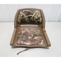 Wise Cushioned Molded Fishing Boat Seat Chair Fold Down Brown Camouflage Camo