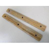 "Vintage Marine Boat Teak Wood Step Pad Trim Insert Set (2) 12"" x 1 3/8"" x 1/4"""