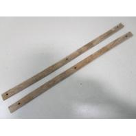 """Vintage Marine Boat Teak Wood Wall Deck Trim Insert Set (2) 23 3/4"""" x 1"""" x 1/4"""""""