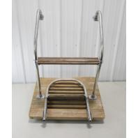 "Vintage Marine Boat Teak Wood Swim Platform 24"" W x 18"" D with 2 Step Ladder"