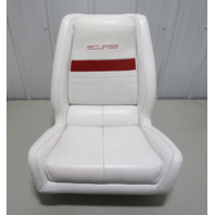 """1991 WellCraft 186 XL Eclipse Boat White Red Captains Chair Helm Seat 23"""" x 22"""""""