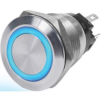LED RING PUSH BUTTON SWITCH-Off-Mom On, Blue