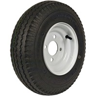 KENDA RIM & TIRE ASSEMBLY, PLAIN WHEEL, WHITE-480 X 8; 4-Hole Plain Rim; Load Range B