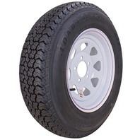KENDA RIM & TIRE ASSEMBLY, SPOKED WHEEL, WHITE-ST175/80D13; 5-Hole Spoked Rim; Load Range B