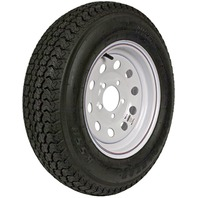 KENDA RIM & TIRE ASSEMBLY, MODULAR WHEEL, WHITE-ST175/80D13; 5-Hole Modular Rim; Load Range B