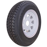 KENDA RIM & TIRE ASSEMBLY, SPOKED WHEEL, WHITE-ST175/800-13; 5-Hole Spoked Rim; Load Range C