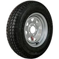 KENDA RIM & TIRE ASSEMBLY, SPOKED WHEEL, SILVER-ST175/80D13; 5-Hole Silver Spoked Rim; Load Range C, Bias Tire
