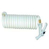 WASHDOWN STATION Coiled Hose Only, 25' White, w/Pistol Grip Nozzle