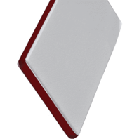 "KING COLORCORE ENGRAVABLE POLYMER SHEET-White/Red/White, 12""L x 27""W x 1/4"" Thick"
