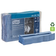 TORK INDUSTRIAL PAPER WIPER, TOP-PAK-90 Folded Sheets, 4-Ply, 16.4 x 12.8 Blue