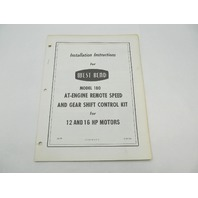 West Bend Installation Instructions for AT-Engine Remote Speed & Gear Shift Control 180