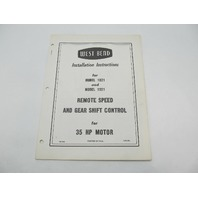 West Bend Installation Instructions for Remote Speed & Gear Shift Control 1821 1921