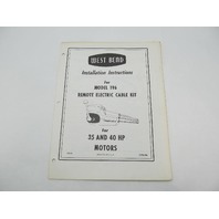 OB282 West Bend 35-40 HP Installation Instructions for Remote Electric Cable Kit 196