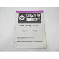 OB3845 Outboard Parts Catalog for Chrysler 25 HP Manual Tiller  & CD Alt 1983