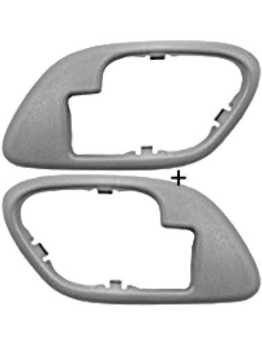 Fits Chevy GMC Trucks SUV Interior Door Handle Bezel Grey Left & Right Manual Locks
