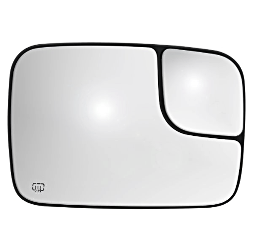 Fits 02-*05 Ram Pickup Right Heated  2 Piece Flip Up Tow Mirror Glass w/ Holder