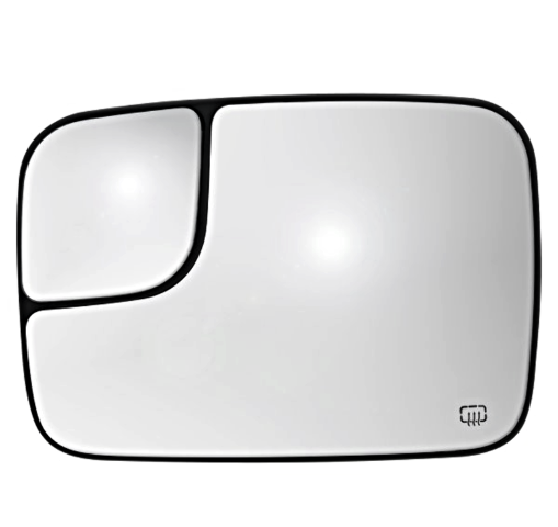 Fits 02 - 05* Ram Pickup Left Heated  2 Piece Flip Up Tow Mirror Glass w/ Holder