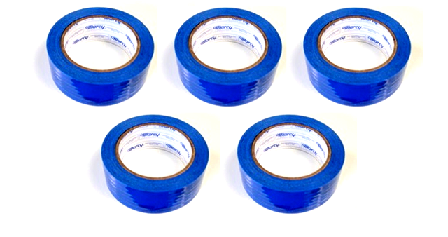 "5 Rolls Molding Tape - All Weather, No residue - 1.5"" x 108' Blue perforated (6"")"
