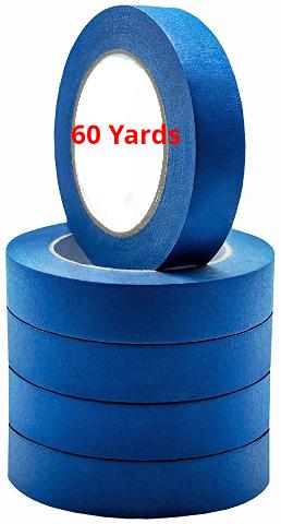 "5 Rolls No Residue Blue Masking Tape 1"" x 60 yds (24mm x 180')"