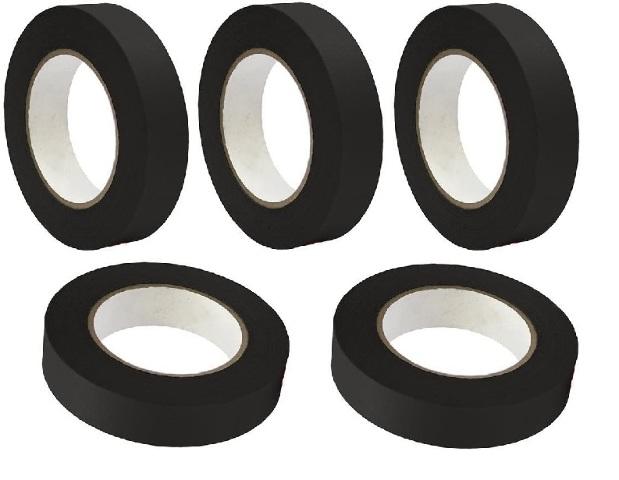 "5 Rolls No Residue Black Masking Tape 1"" x 60 yds (24mm x 180')"