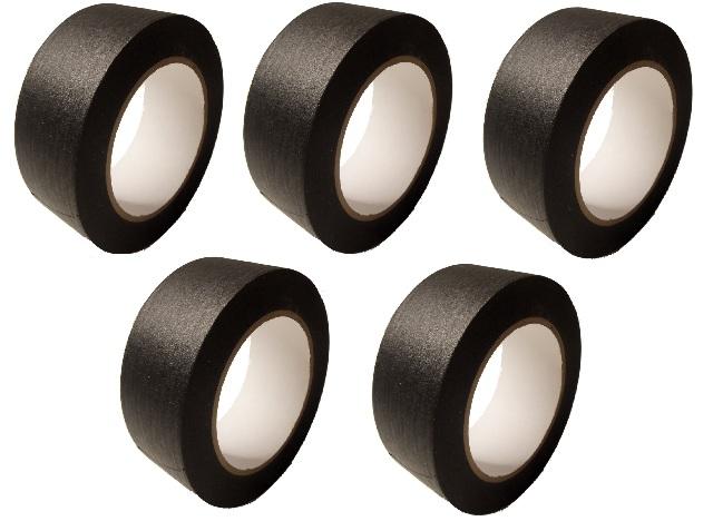 "5 Rolls No Residue Black Masking Tape 2"" x 60 yds (48mm x 180')"