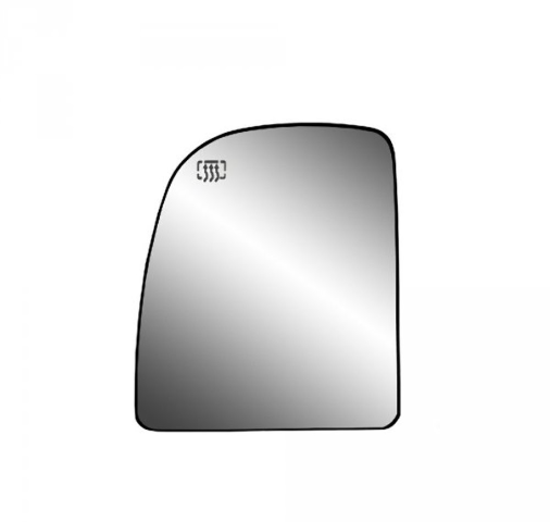 Fits Super Duty, Excursion,  Van Driver Upper Mirror Glass Heated w/Holder