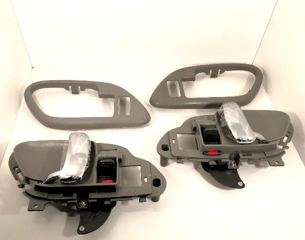 Left & Right Inside Power Door Handles & Bezels Grey/Chrome Front or Rear Fits GM Trucks, SUV