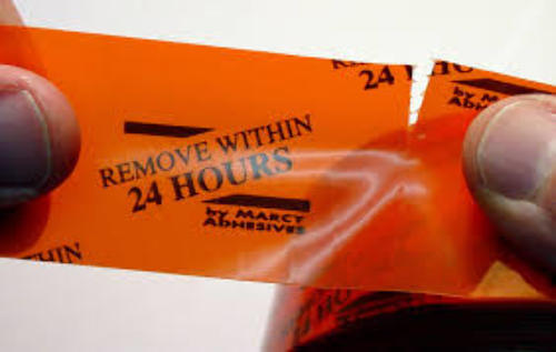 "1 Roll Molding Tape - All Weather, No residue - 3"" x 108' Orange 24-Hr, printed/perfed. (12"")"