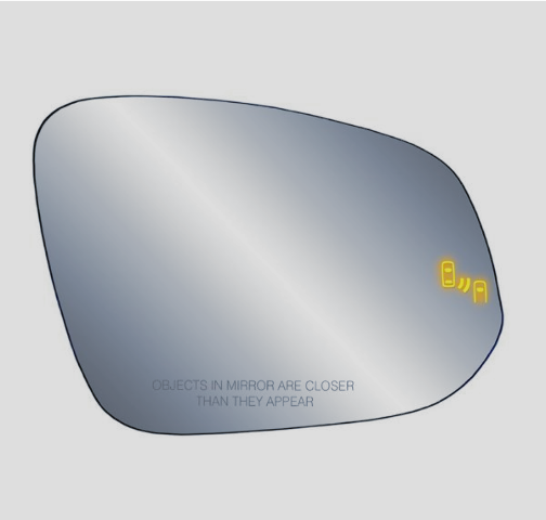 For 14-19 Highlander Right Pass Heated Mirror Glass w/BlindSpot Warning w/Holder