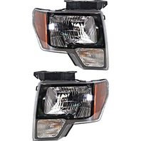 BAP Fits 10-14 F150 SVT Raptor Left & Right Halogen Headlamp W/Black Trim - Set