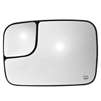 Fits 02-*05 Ram Pickup Left Heated  2 Piece Flip Up Tow Mirror Glass w/ Holder