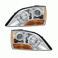 Fits 07-09 Sorento Left & Right Headlights with Chrome Bezel - Set