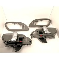 VAM Left & Right Inside Door Handles & Bezels Grey/Chrome Front or Rear for Power Locks Fits GM Trucks, SUV