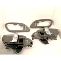 Left & Right Inside Power Door Handles & Bezels Grey/Chrome Front or Rear Fits GM Trucks, SUV