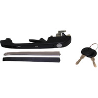 RABBIT 79-83 / JETTA 85-92 EXTERIOR FRONT DOOR HANDLE LH, Textured Black, w/ Chrome Trim, w/ Keyhole, Includes 2 Keys